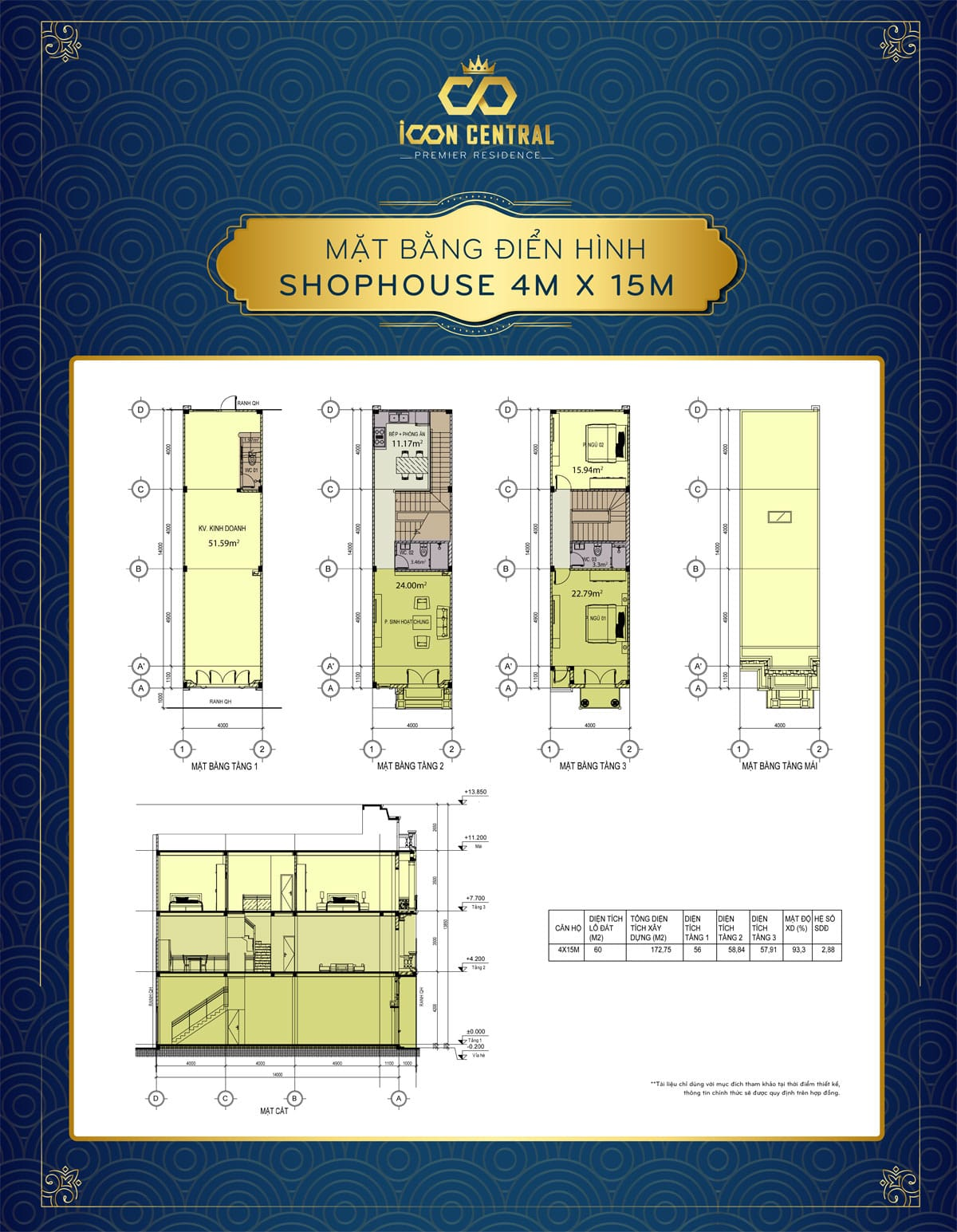 mat bang dien hinh shophouse 4 x 15m icon central - SHOP OFFICE ICON CENTRAL DĨ AN BÌNH DƯƠNG