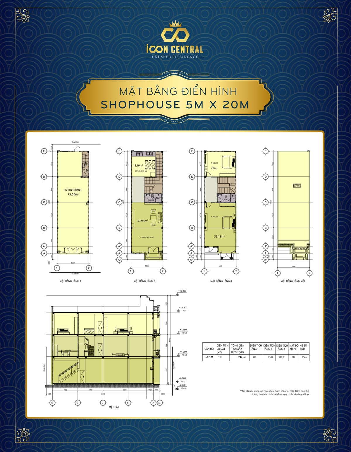 mat bang dien hinh shophouse 5x 20m icon central - SHOP OFFICE ICON CENTRAL DĨ AN BÌNH DƯƠNG