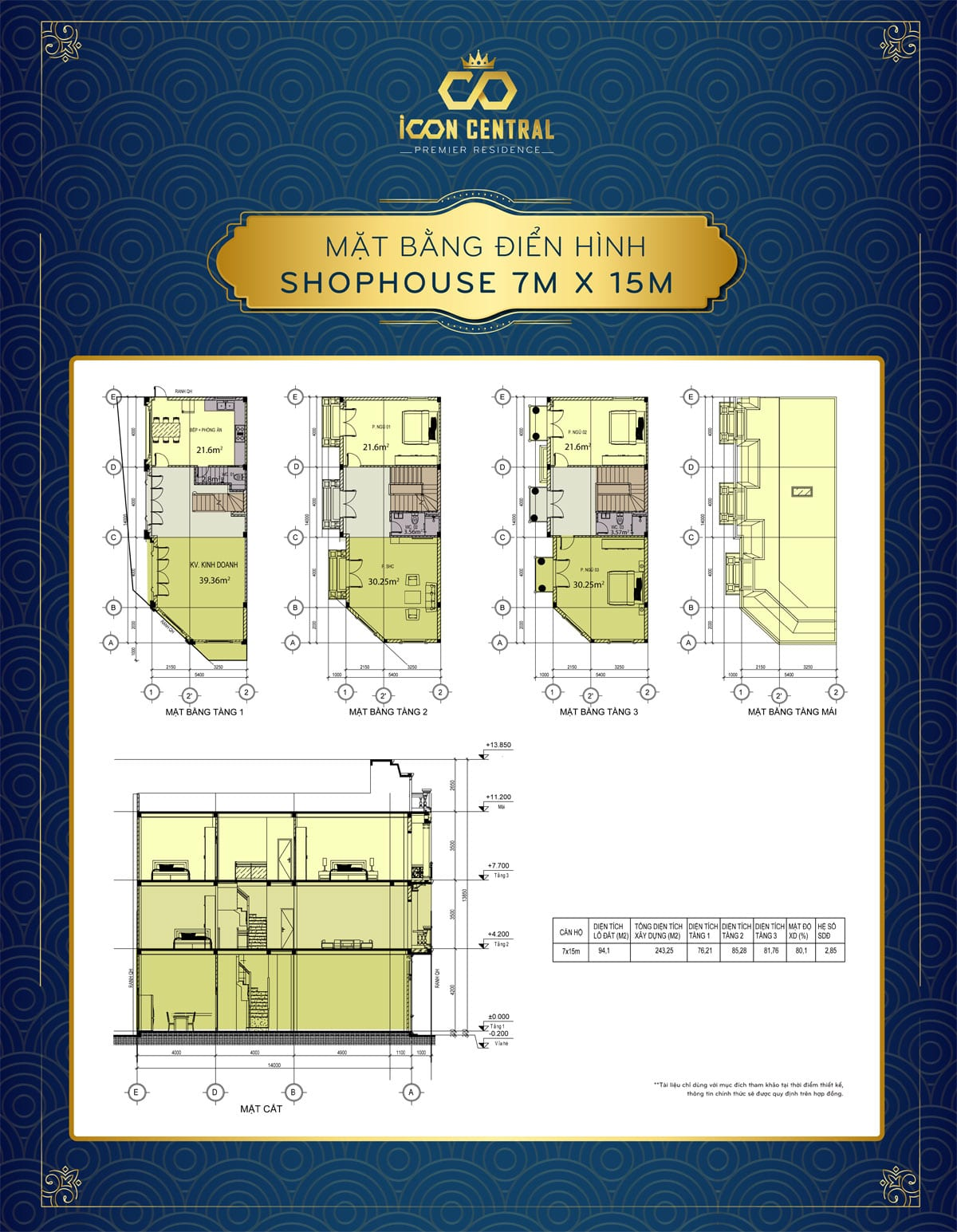 mat bang dien hinh shophouse 7x 15m icon central - SHOP OFFICE ICON CENTRAL DĨ AN BÌNH DƯƠNG