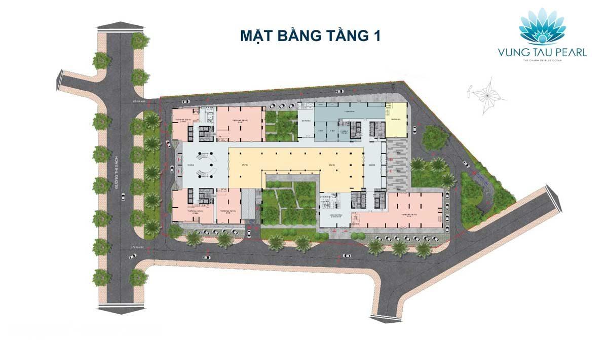 Mặt bằng Tầng 1 Dự án căn hộ Vung Tau Pearl