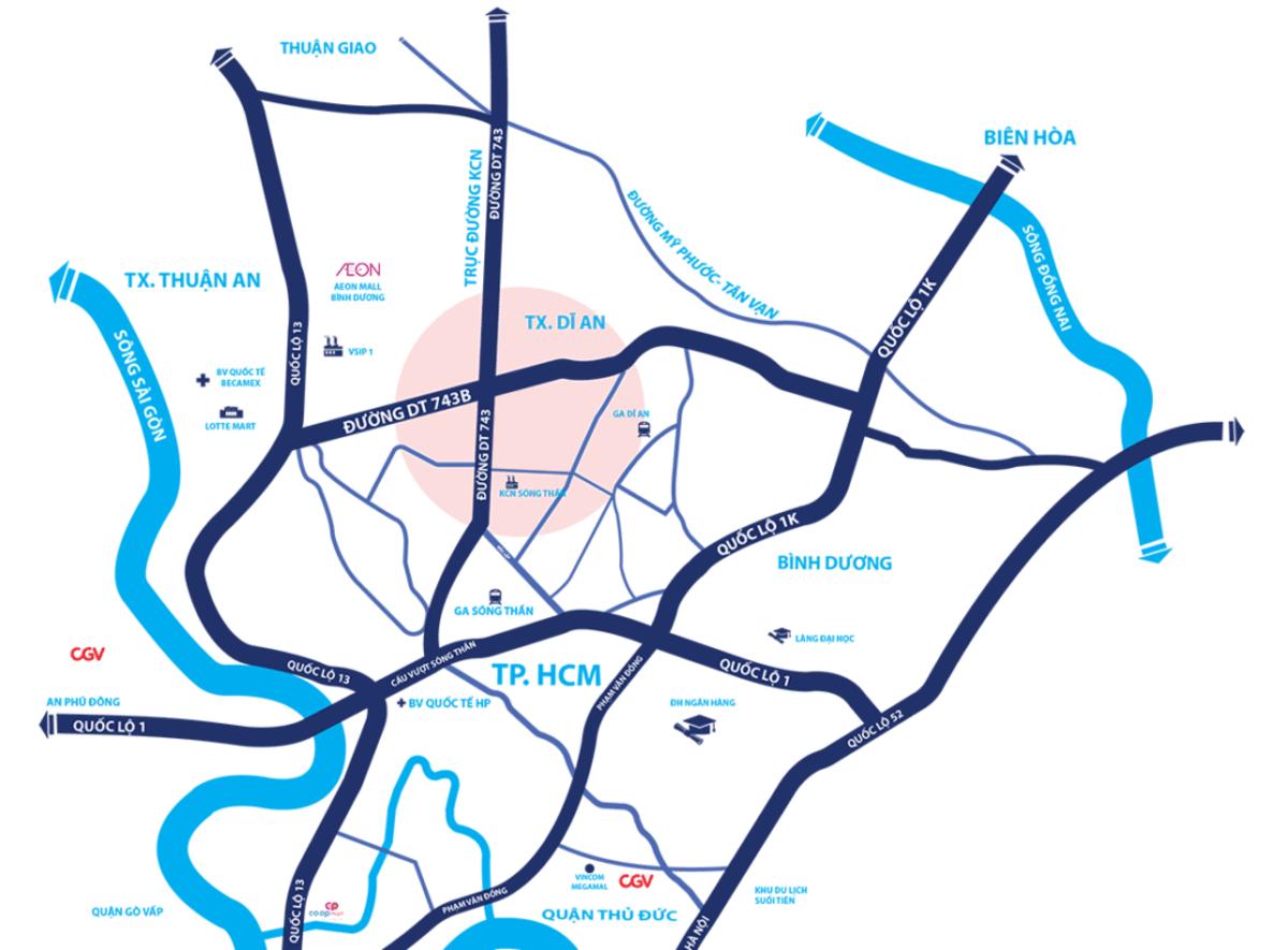 vị trí khu dân cư icon central dĩ an - DỰ ÁN ICON CENTRAL DĨ AN BÌNH DƯƠNG