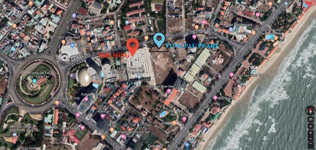 Vị trí Dự án căn hộ Vung Tau Pearl trên Google Map