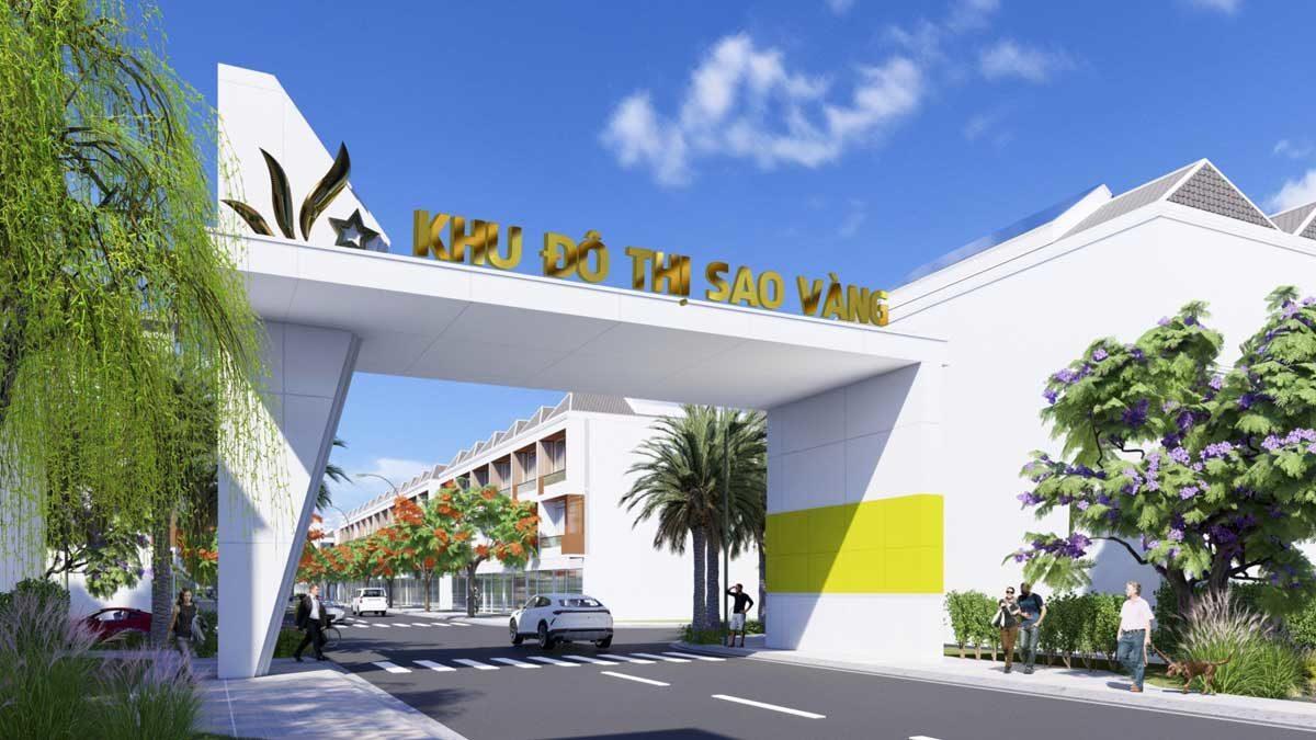 Cổng Dự án Khu đô thị Sao Vàng Long An