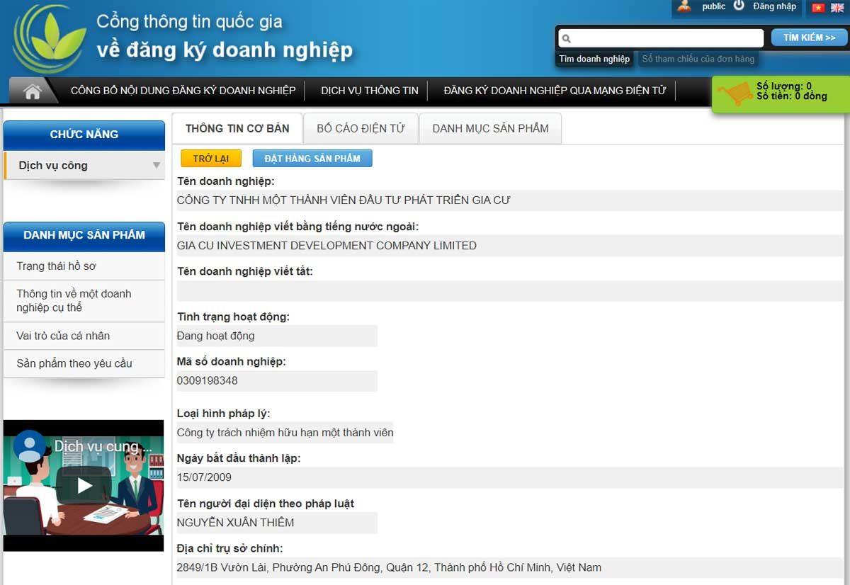 Thông tin về Công Ty TNHH MTV Đầu Tư Phát Triển Gia Cư trên cổng thông tin Quốc Gia về đăng ký Doanh nghiệp