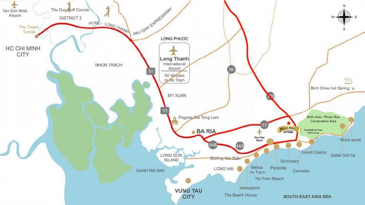 Vị trí Dự án Mega Mall Hồ Tràm