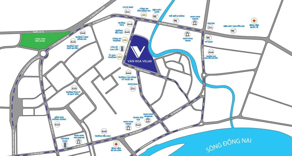 Vị trí Dự án Văn Hoa Villas Biên Hòa Đồng Nai