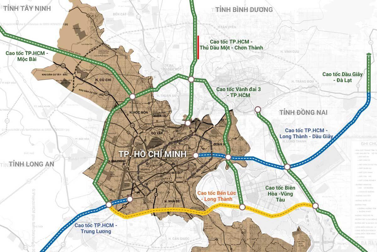 Tuyến cao tốc Tp. Hồ Chí Minh –Thủ Dầu Một – Chơn Thành - DỰ ÁN QI ISLAND NGÔ CHÍ QUỐC BÌNH DƯƠNG