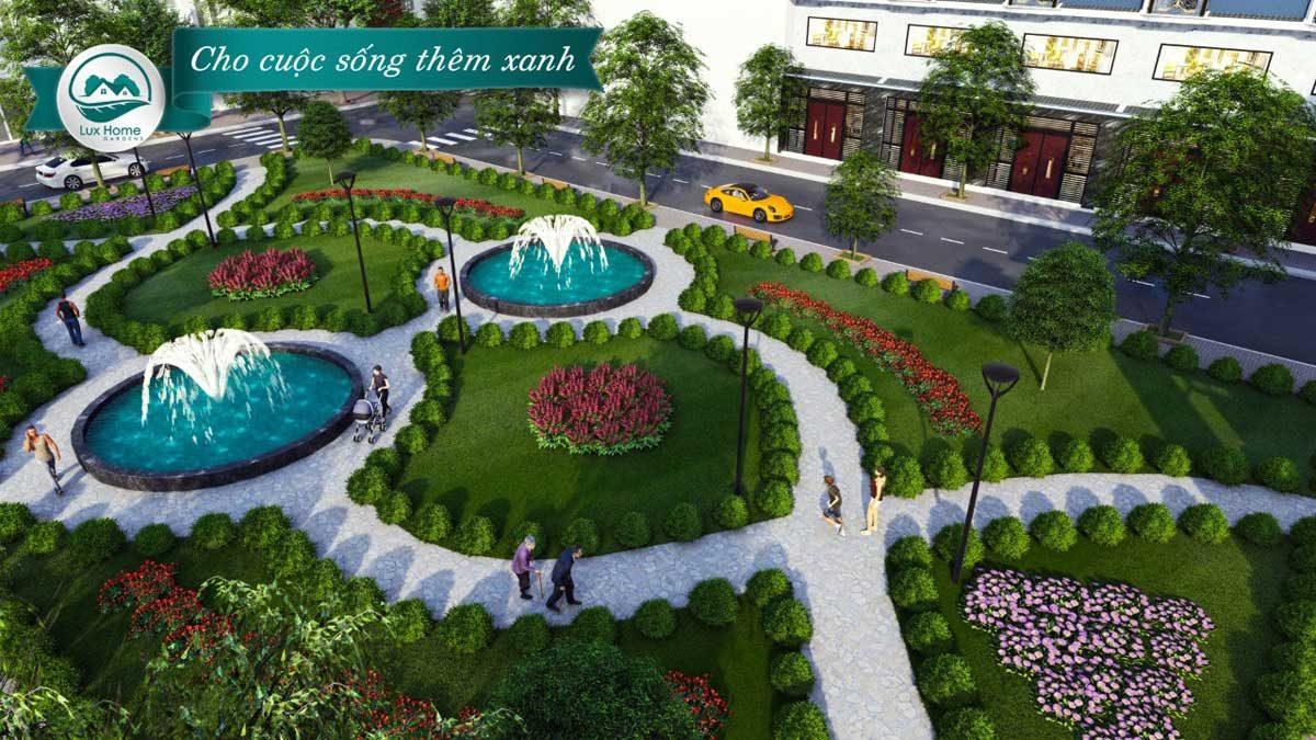 cong vien du an lux home gardens binh tan - DỰ ÁN NHÀ PHỐ LIÊN KẾ LUX HOME GARDENS BÌNH TÂN