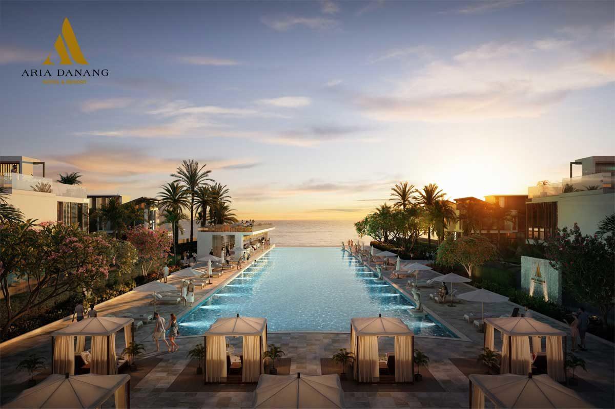 Hồ bơi vô cực và rooftop bar view biển tại Dự án Aria Đà Nẵng