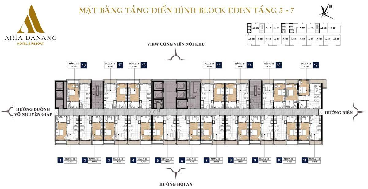 mat bang tang 3 7 block eden aria da nang - DỰ ÁN BIỆT THỰ CĂN HỘ CONDOTEL ARIA ĐÀ NẴNG