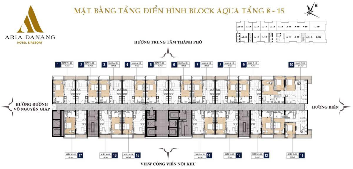 Mặt bằng tầng 8-15 Block Aqua Căn hộ Aria Đà Nẵng Hotel & Resort