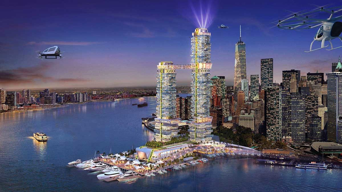 phoi canh 2 thap pier 2 tai newyork my - GIỚI THIỆU CÔNG TY HUMPHREYS AND PARTNERS ARCHITECTS
