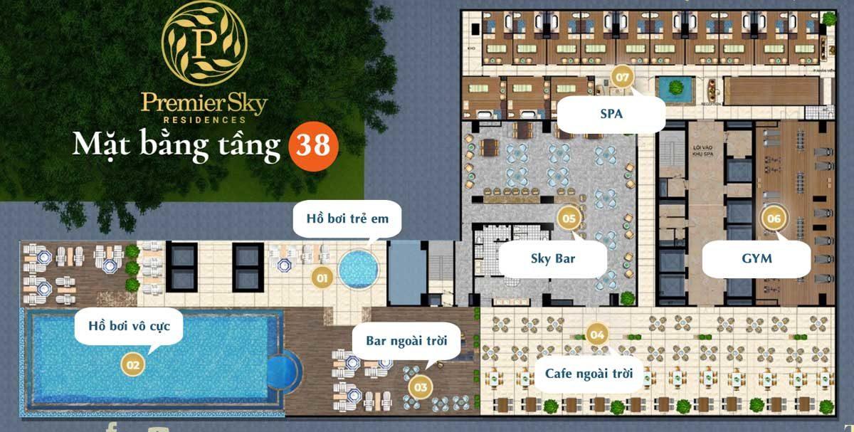 Mặt bằng tầng 38 Căn hộ Premier Sky Residences Đà Nẵng