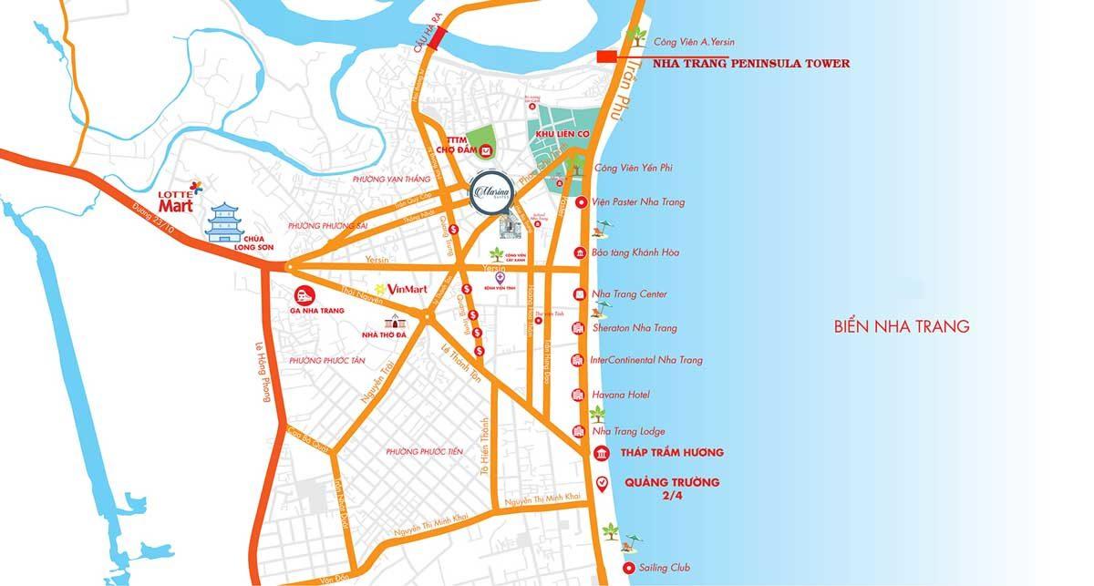 vi tri can ho Nha Trang Peninsula Tower - DỰ ÁN CĂN HỘ NHA TRANG PENINSULA TOWER