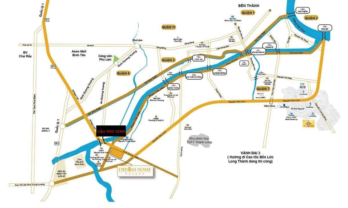Vị trí Dự án Cầu Phú Định nối Quận 8 với Quận 6