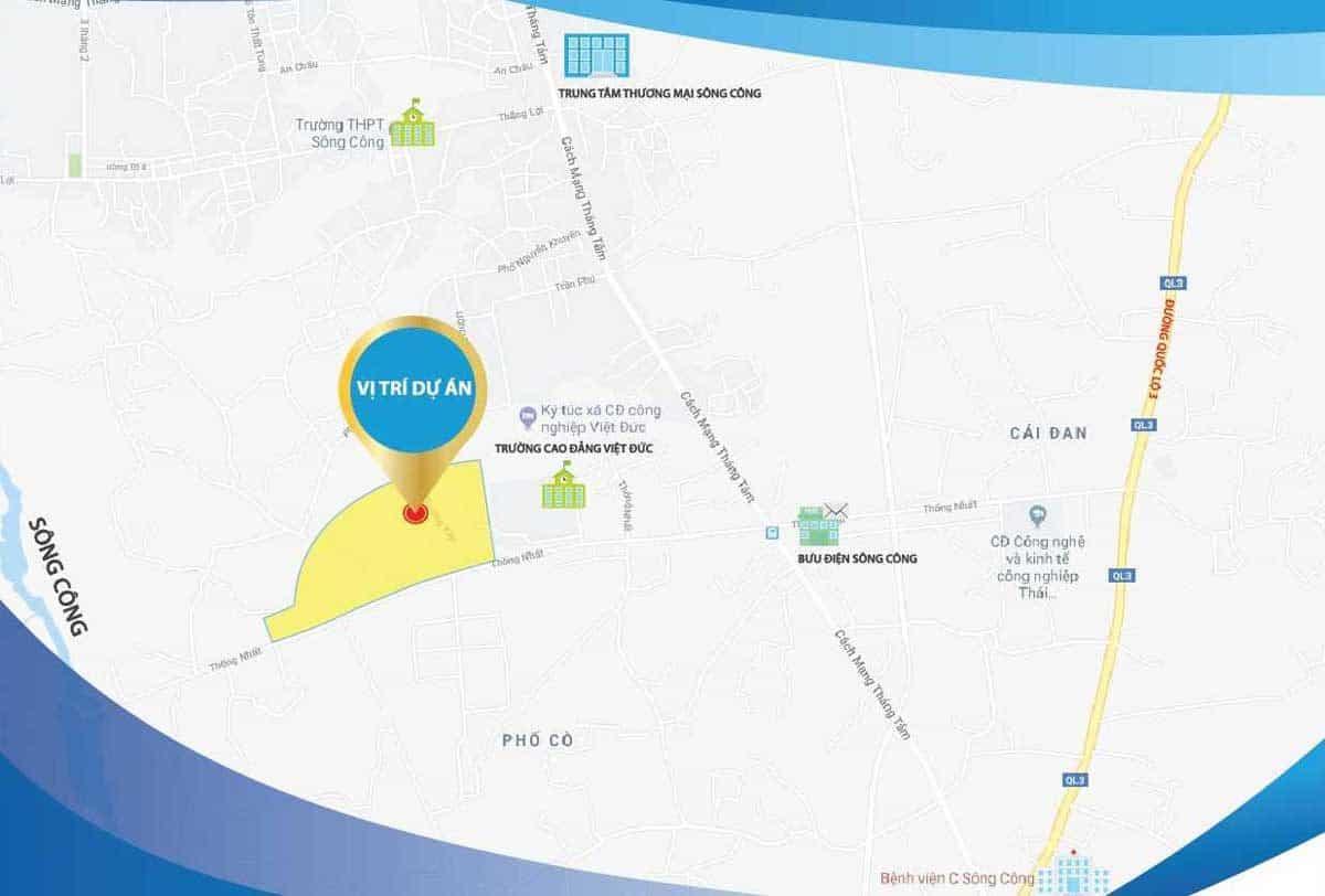 Vị trí Dự án Khu đô thị Danko City Thái Nguyên