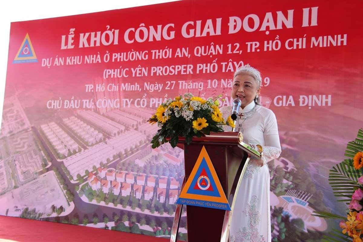Bà Châu Thị Mỹ Linh Tổng Giám đốc công ty CP Địa Ốc Sài Gòn Gia Định - PHÚC YÊN PROSPER PHỐ TÂY QUẬN 12