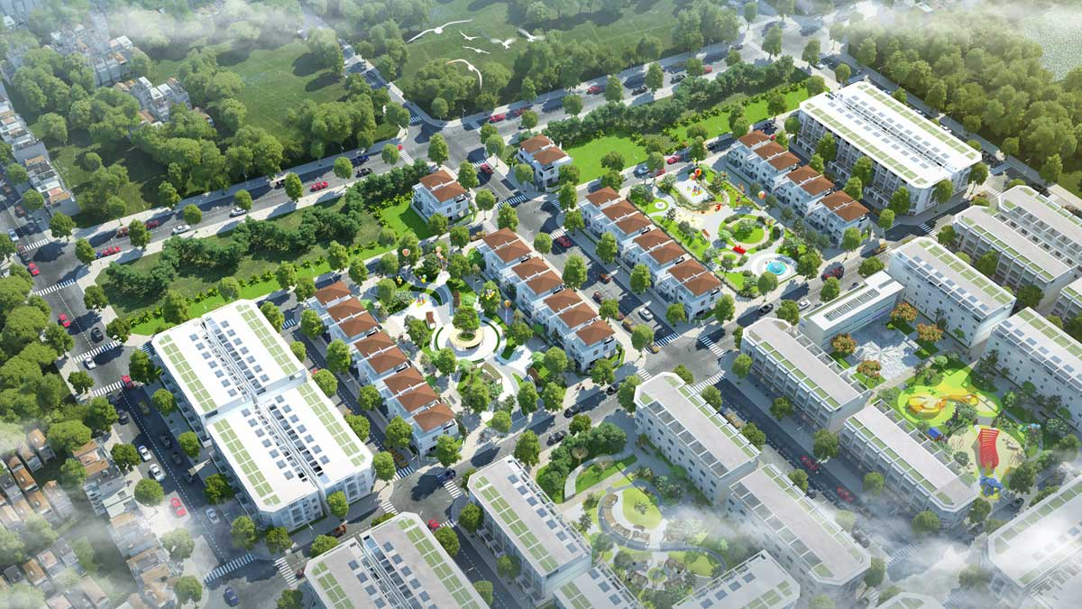 Phoi canh Phan khu Gem Town - DỰ ÁN KHU ĐÔ THỊ TNR AMALUNA TRÀ VINH