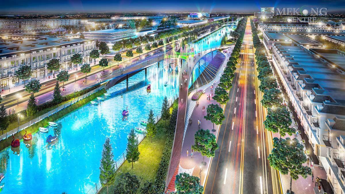 Cầu đi bộ tại Dự án Mekong Centre Sóc Trăng