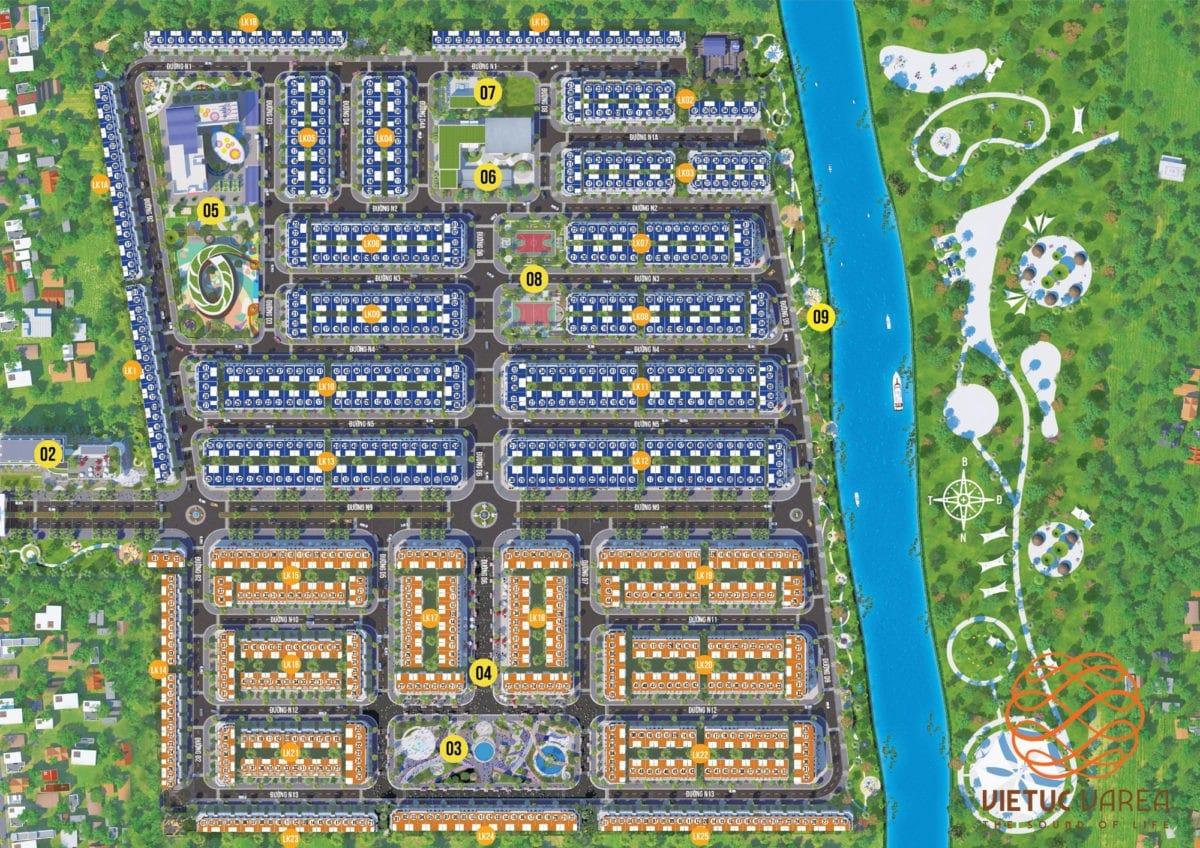 Mặt bằng Phân lô Dự án Việt Úc Varea Bến Lức Long An