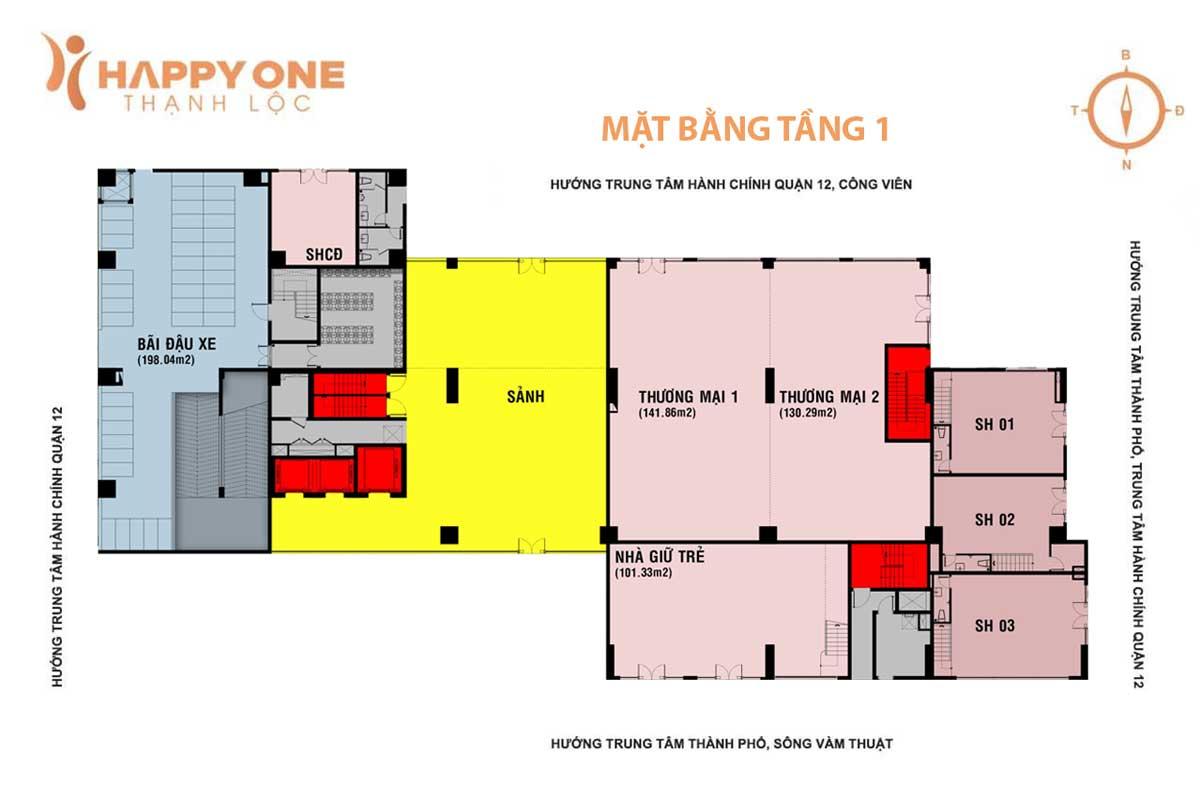 mat bang tang 1 du an can ho happy one thanh loc quan 12 - HAPPY ONE PREMIER THẠNH LỘC QUẬN 12