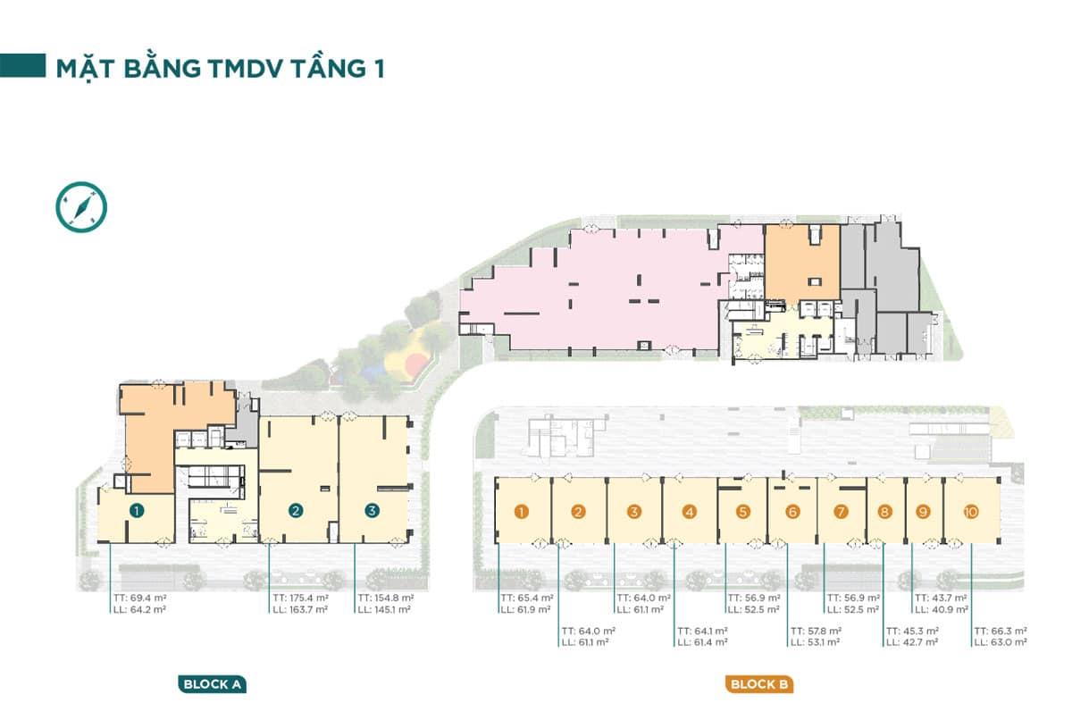 Mặt bằng điển hình tầng 1 Dự án Căn hộ Chung cư D'Lusso Quận 2