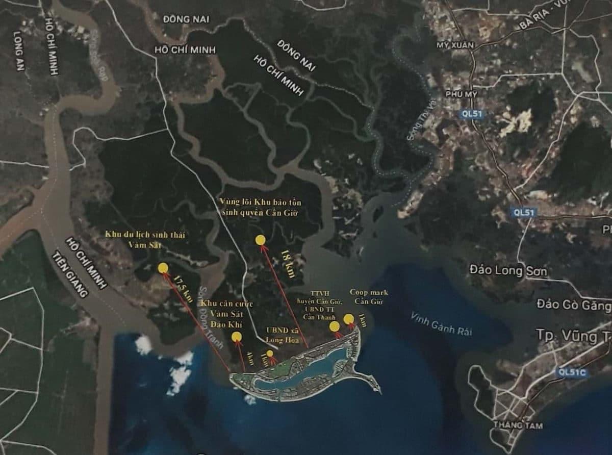 Vị trí Dự án Khu đô thị du lịch lấn biển Cần Giờ
