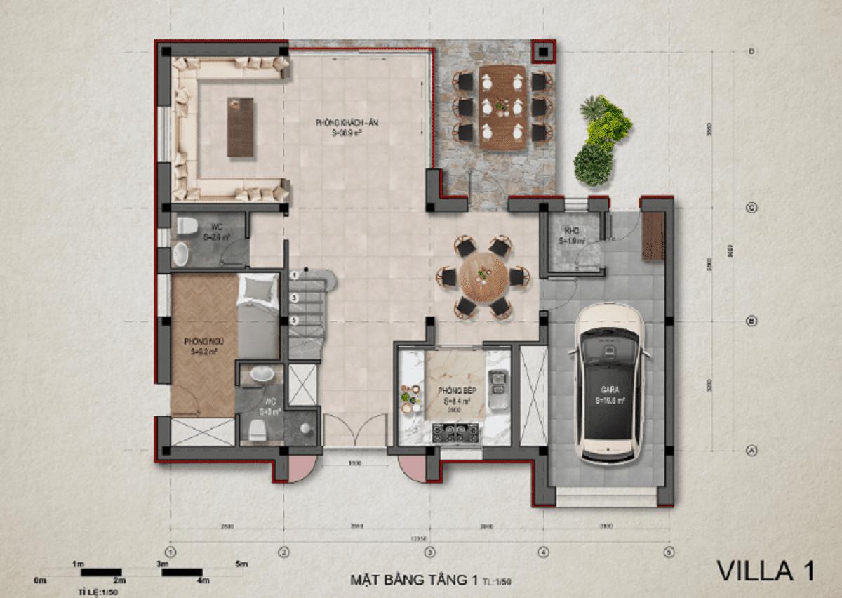 Mặt bằng tầng 1 villa 1 - DỰ ÁN KHU DU LỊCH THỊ NẠI ECO BAY QUY NHƠN