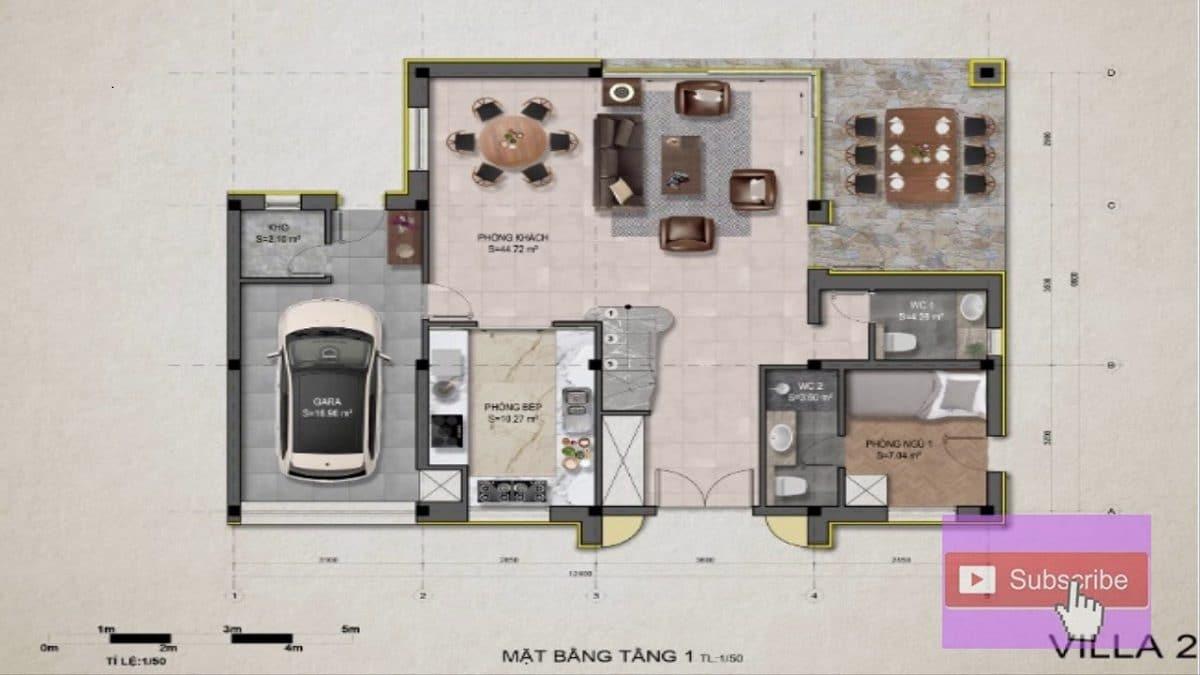 Mặt bằng tầng 1 villa 2 - DỰ ÁN KHU DU LỊCH THỊ NẠI ECO BAY QUY NHƠN