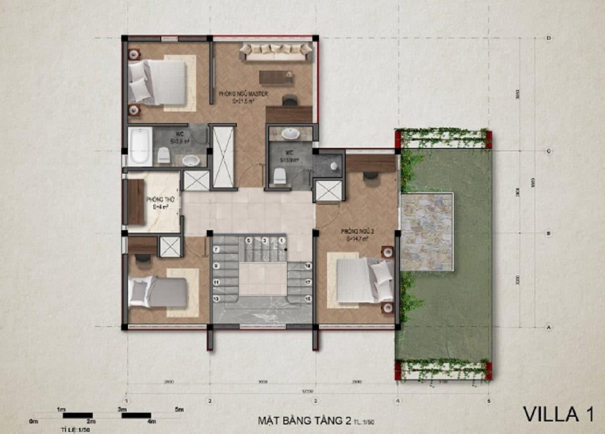 Mặt bằng tầng 2 villa 1
