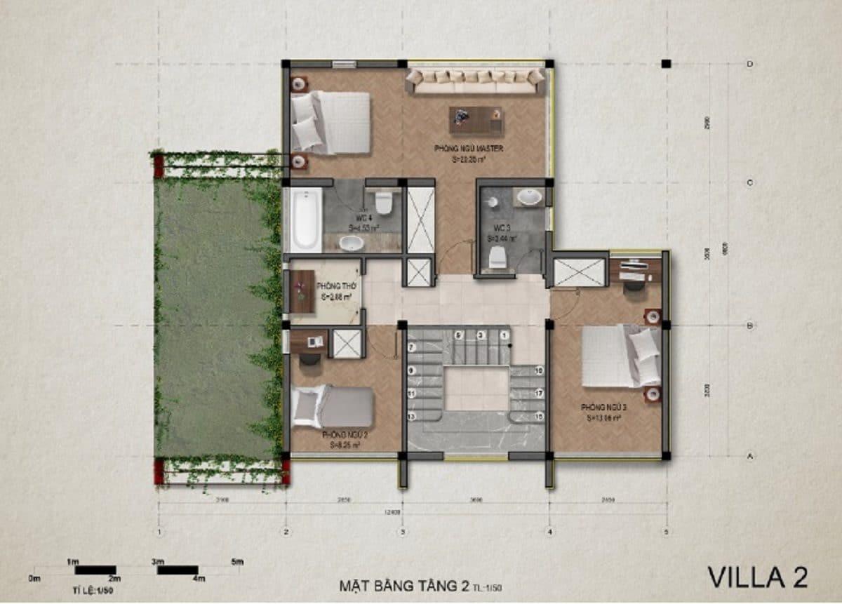Mặt bằng tầng 2 villa 2 - DỰ ÁN KHU DU LỊCH THỊ NẠI ECO BAY QUY NHƠN