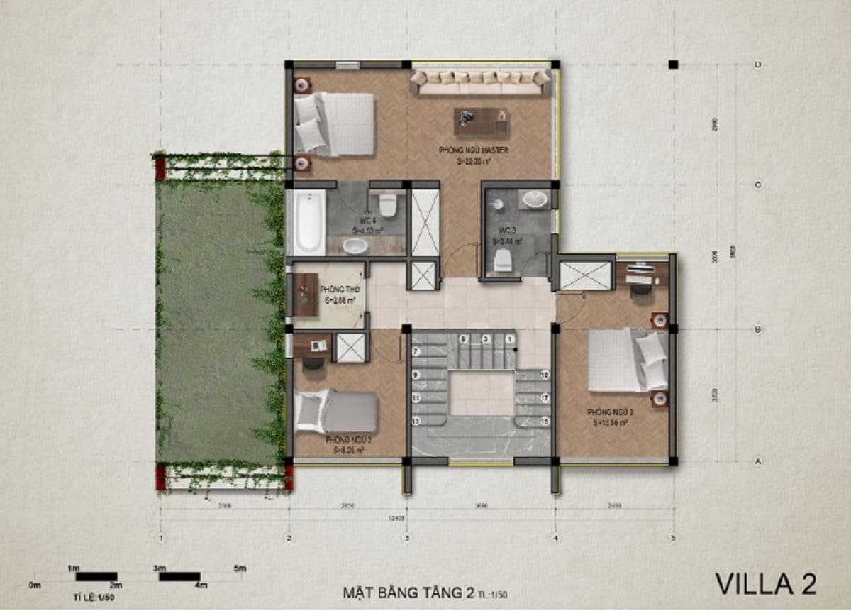 Mặt bằng tầng 2 villa 2