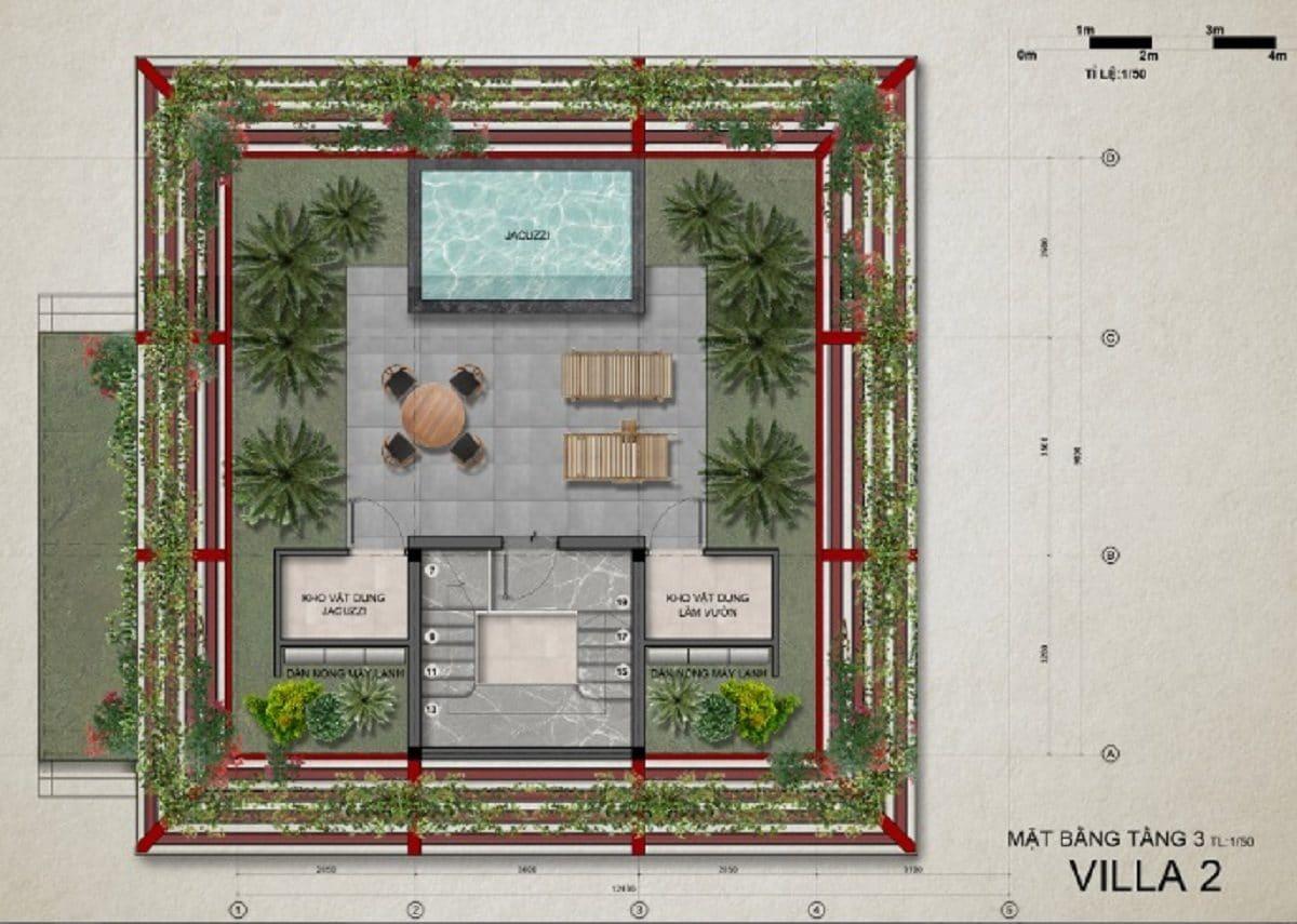 Mặt bằng tầng 3 villa 2 - DỰ ÁN KHU DU LỊCH THỊ NẠI ECO BAY QUY NHƠN