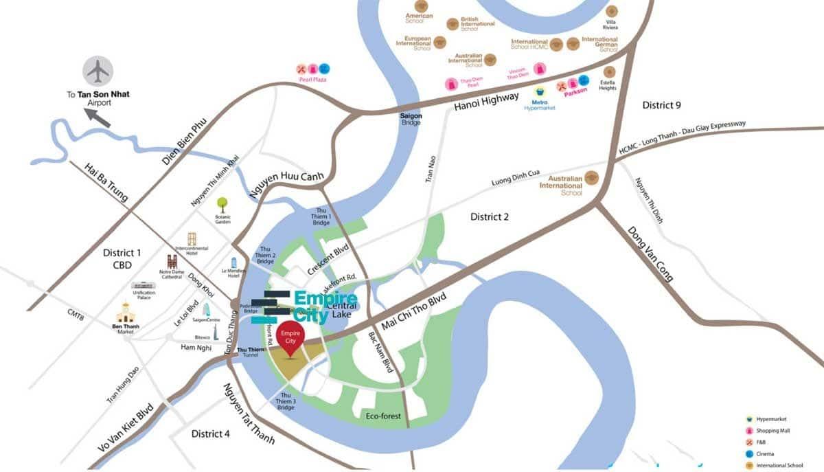 Vị trí Empire City Thủ Thiêm - DỰ ÁN CĂN HỘ EMPIRE CITY THỦ THIÊM QUẬN 2
