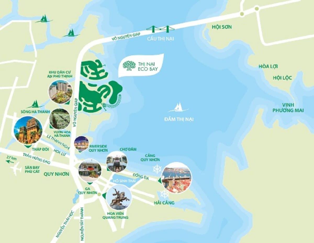 Vị trí dự án Thị Nài Eco Bay so với các danh lam thắng cảnh khác - DỰ ÁN KHU DU LỊCH THỊ NẠI ECO BAY QUY NHƠN