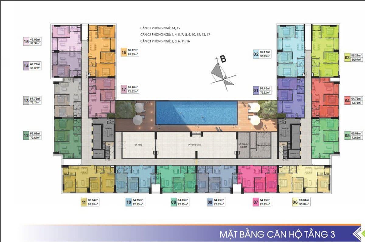 mat bang tang 3 du an can ho phu tai residence - CĂN HỘ CHUNG CƯ PHÚ TÀI RESIDENCE QUY NHƠN