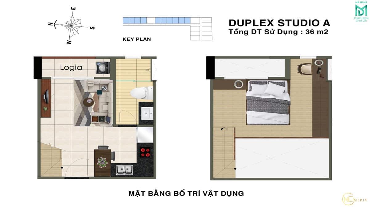 thiet ke can ho duplex studio A MD Home An Lac - MD HOME AN LẠC - 35 BÙI TƯ TOÀN BÌNH TÂN