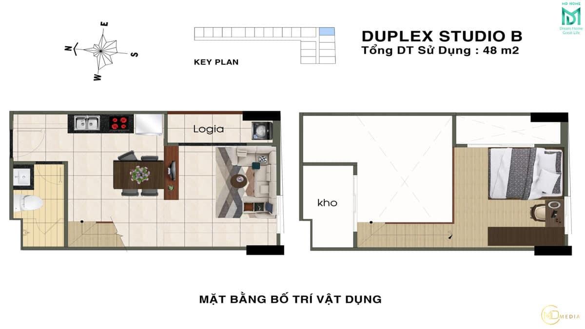 thiet ke can ho duplex studio B MD Home An Lac - MD HOME AN LẠC - 35 BÙI TƯ TOÀN BÌNH TÂN
