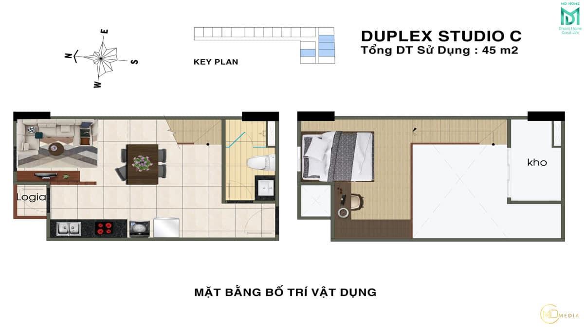 thiet ke can ho duplex studio C MD Home An Lac - MD HOME AN LẠC - 35 BÙI TƯ TOÀN BÌNH TÂN