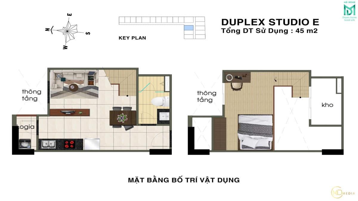 thiet ke can ho duplex studio E MD Home An Lac - MD HOME AN LẠC - 35 BÙI TƯ TOÀN BÌNH TÂN
