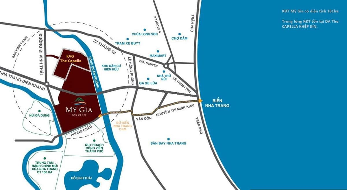 vị trí dự án kvg the capella nha trang - DỰ ÁN KVG THE CAPELLA GARDEN NHA TRANG