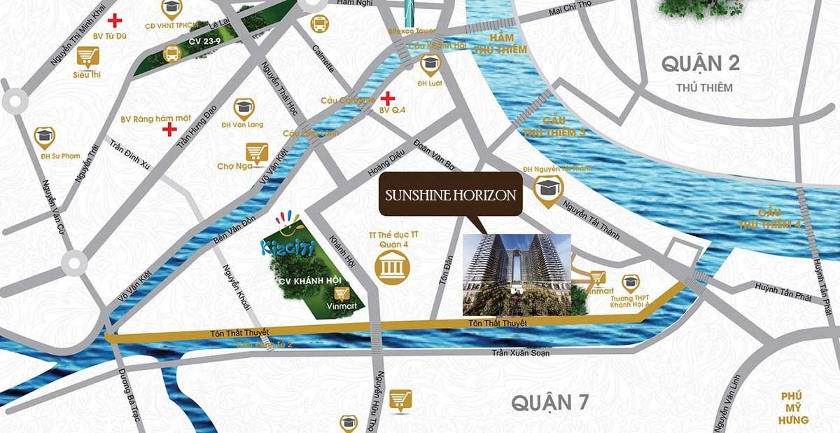Bản đồ Vị trí Dự án Căn hộ Sunshine Horizon Quận 4