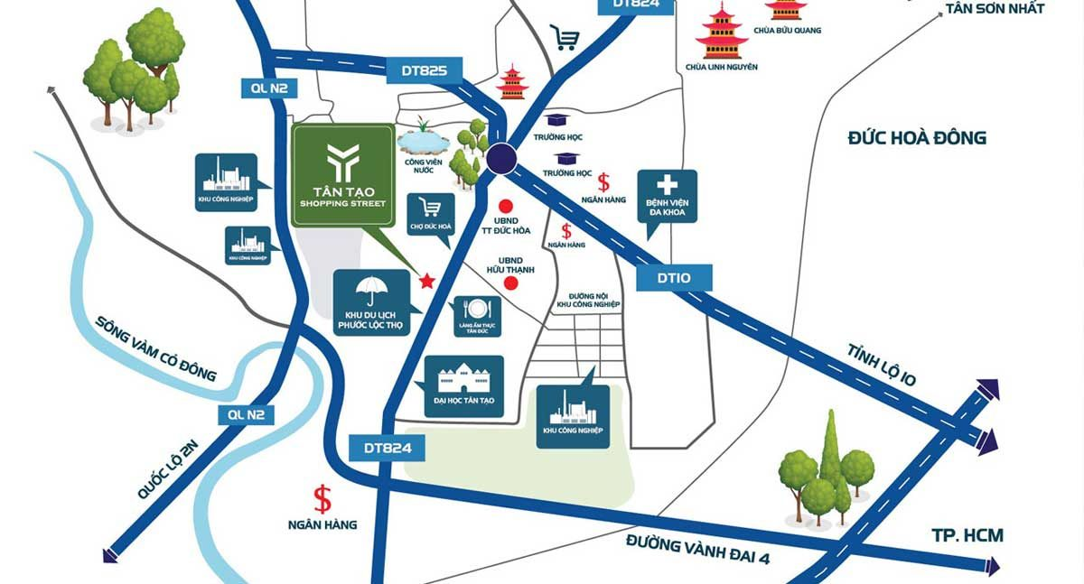 vi tri du an tan tao shopping street - DỰ ÁN TÂN TẠO SHOPPING STREET LONG AN