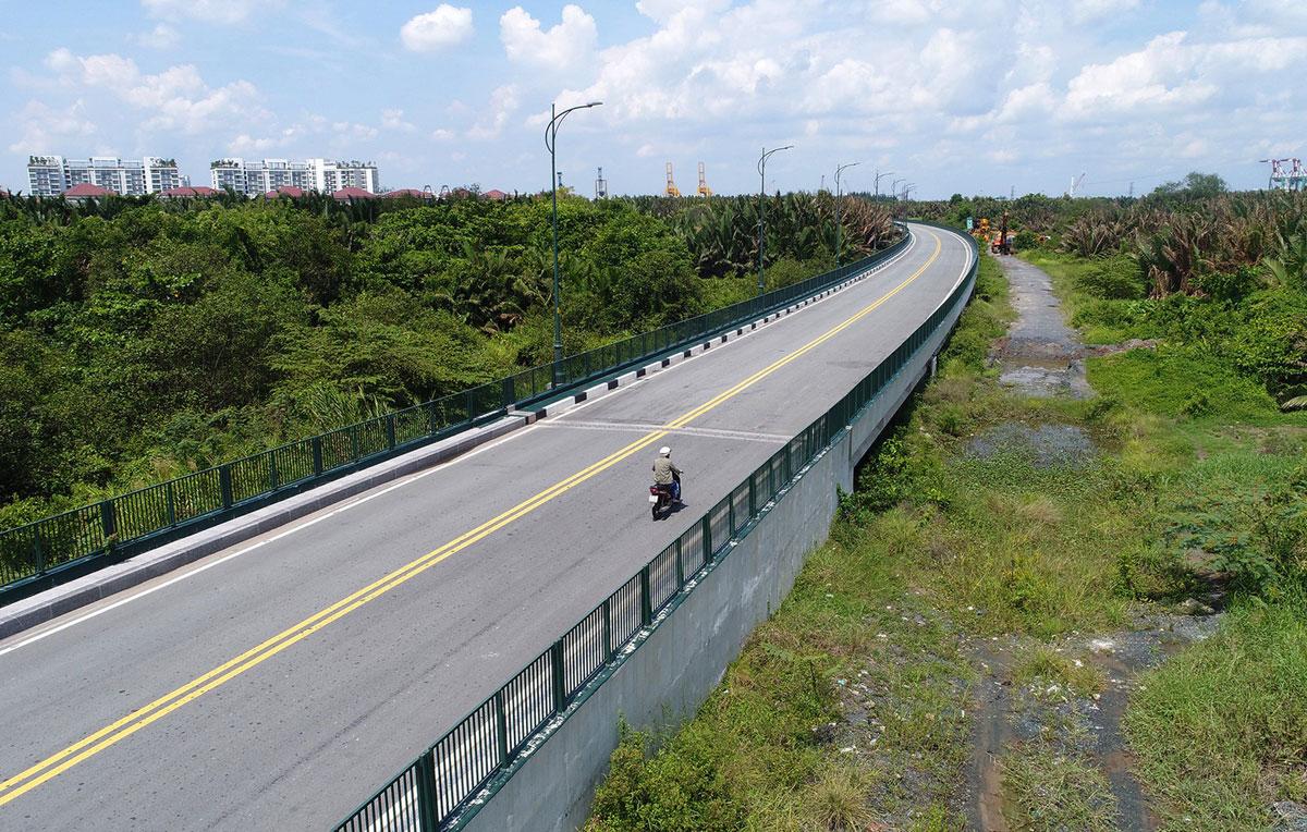 Điểm cuối của cầu Thủ Thiêm 4 tiếp giáp đường Châu thổ phía nam - Dự án Cầu Thủ Thiêm 4 - Kết nối Quận 2 với Quận 7