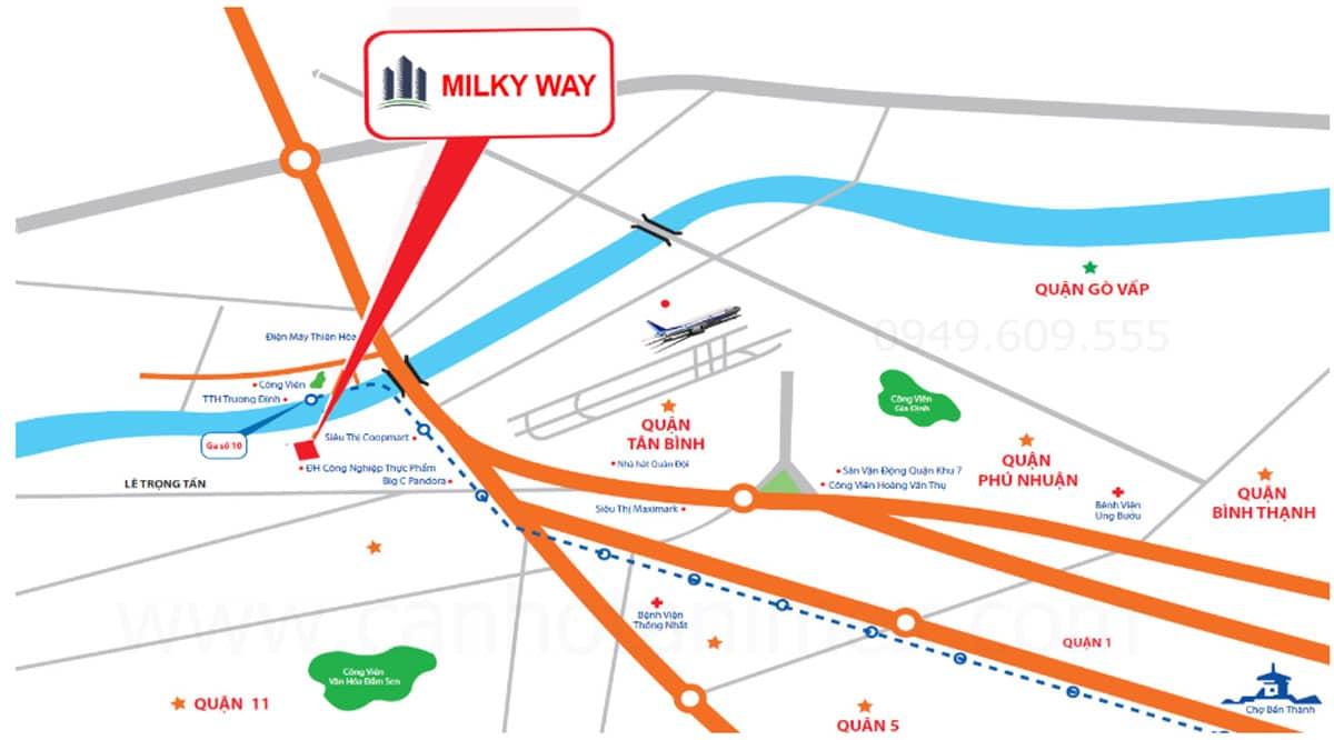 Vị trí Dự án Căn hộ Chung cư Milky Way - Vị trí Dự án Căn hộ Chung cư Milky Way