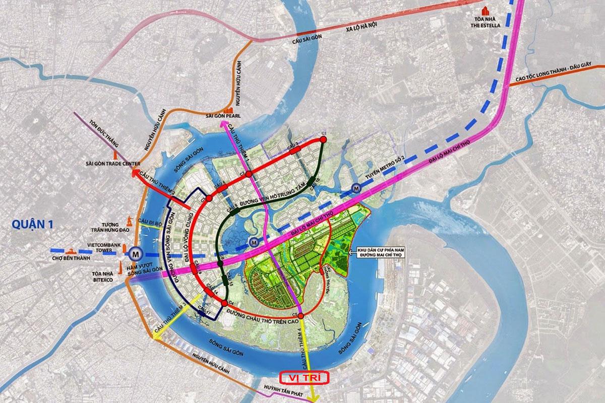 vi tri cau thu thiem 4 - Dự án Cầu Thủ Thiêm 4 - Kết nối Quận 2 với Quận 7