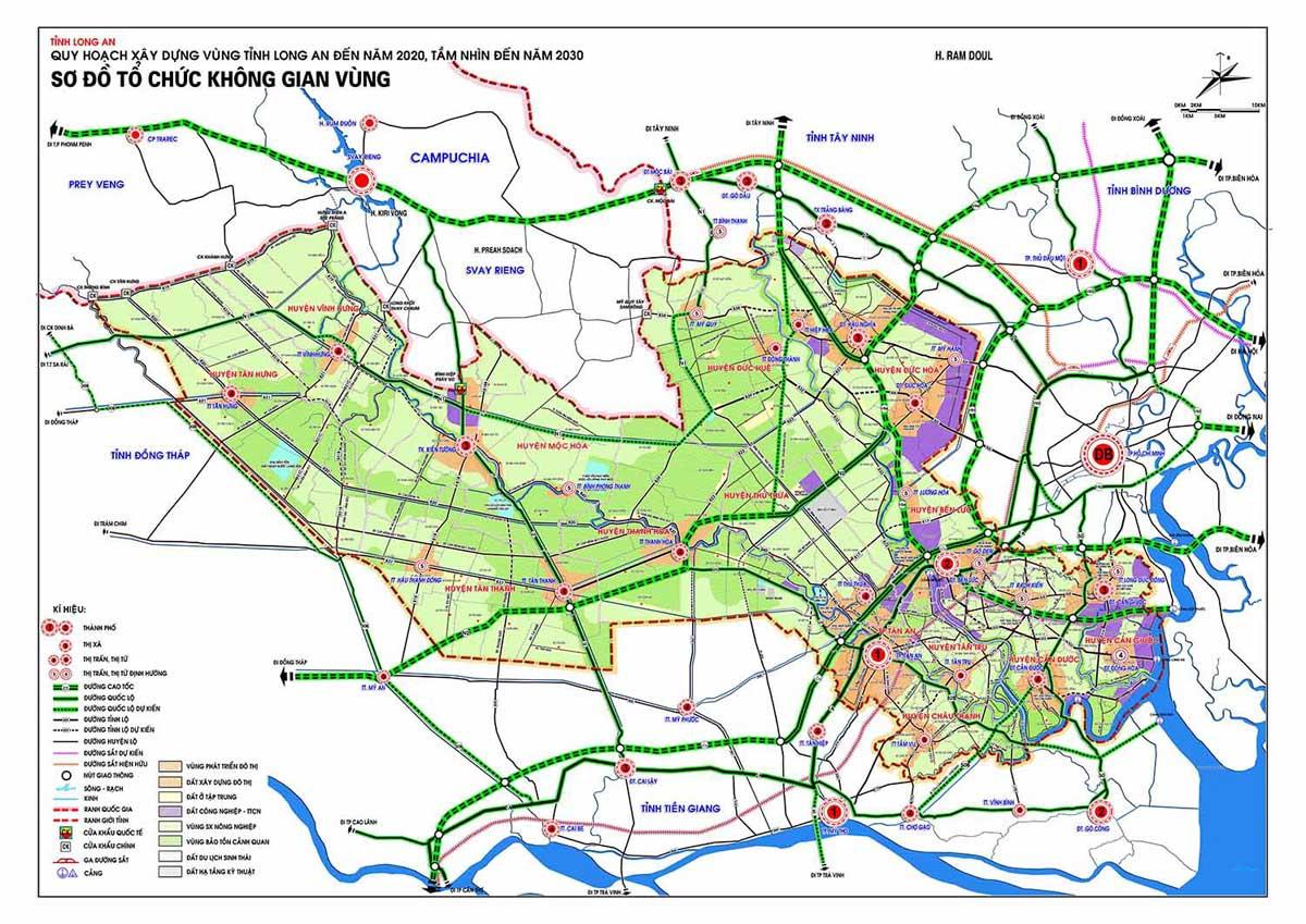 Bản đồ Quy hoạch xây dựng vùng Tỉnh Long An đến năm 2020 tầm nhìn năm 2030 - BẢN ĐỒ HÀNH CHÍNH TỈNH LONG AN & THÔNG TIN QUY HOẠCH MỚI NHẤT 2020