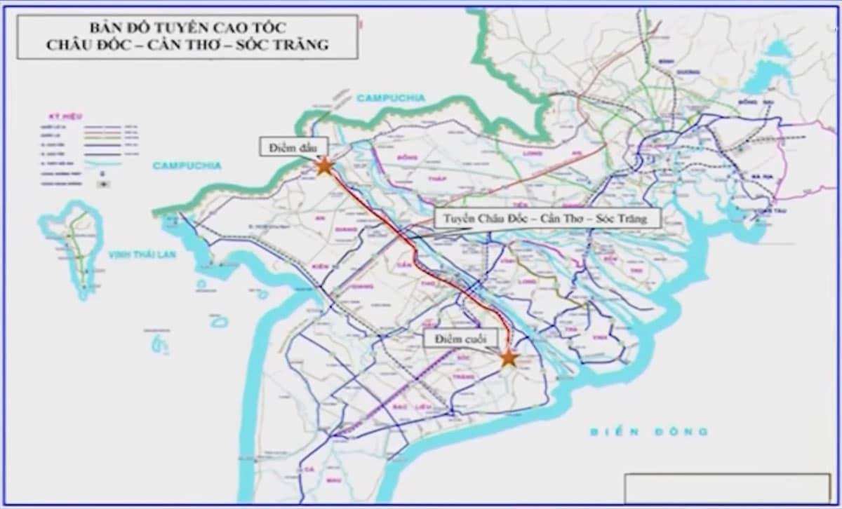 Bản đồ Tuyến Đường Cao tốc Châu Đốc Cần Thơ Sóc Trăng - Tuyến Đường Cao tốc Châu Đốc – Cần Thơ – Sóc Trăng cập nhật mới nhất