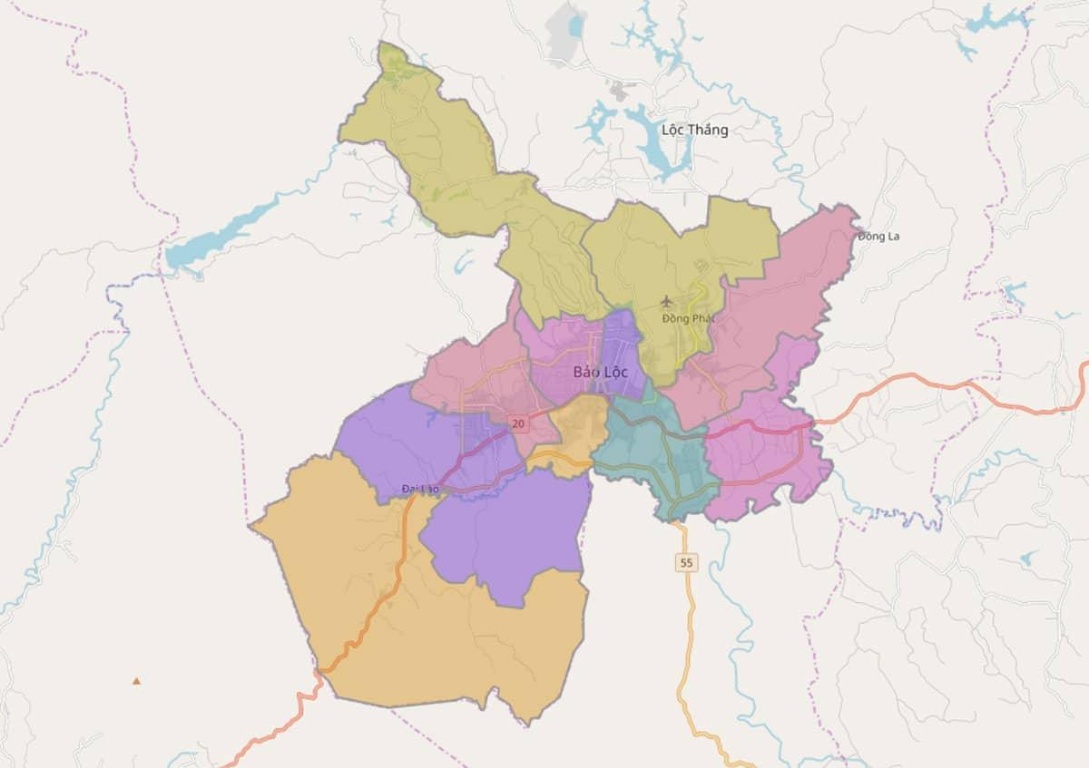 Bản đồ hành chính TP Bảo Lộc - BẢN ĐỒ HÀNH CHÍNH TỈNH LÂM ĐỒNG & THÔNG TIN QUY HOẠCH MỚI NHẤT 2021