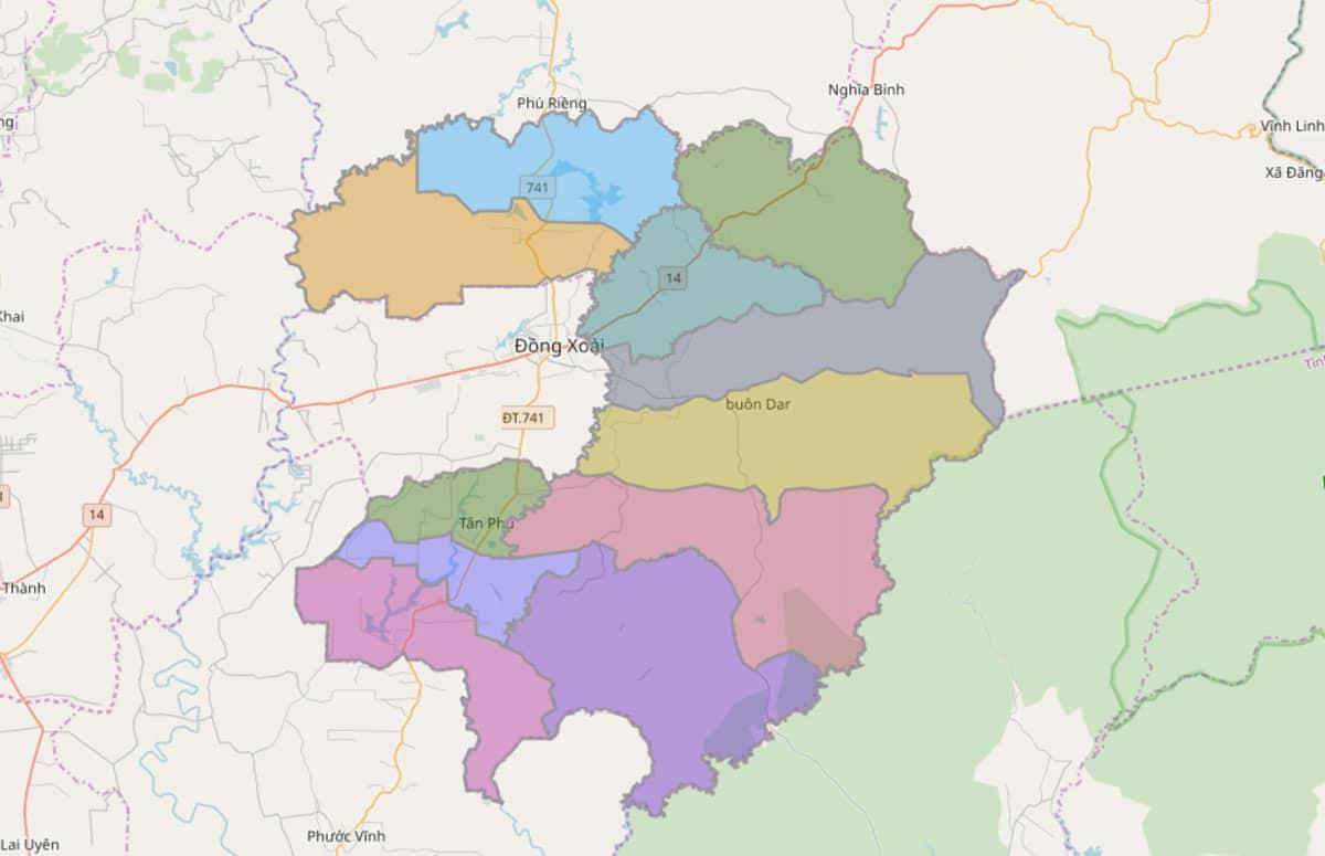 Bản đồ hành chính huyện Đồng Phú - BẢN ĐỒ HÀNH CHÍNH TỈNH BÌNH PHƯỚC & THÔNG TIN QUY HOẠCH MỚI NHẤT 2020